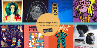 All of the previous festival images are displayed on a banner (2013-2020)