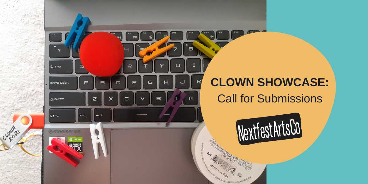 """Colourful clothespins and a clown nose are spread across a computer laptop keyboard with a flash drive in the USB port that reads """"Clown 2021"""" on it."""