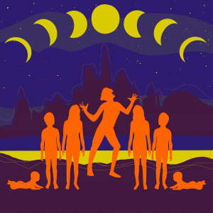 Five figures stand under the phases of the moons in the sky.