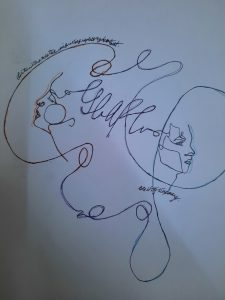 """A one line drawing of two faces connect in the middle with the word """"escape"""" in cursive."""