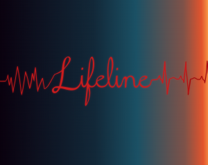 The word lifeline is written in red and connected at both sides to the up-and-down patterns of a heart monitor.