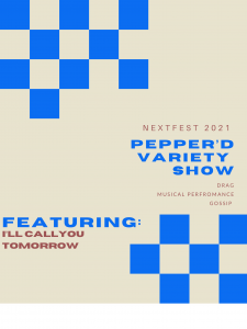 A poster featuring blue checker shapes and the show's title appear on a off-white background.