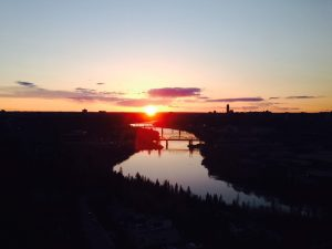 A sunset over the Edmonton river valley.