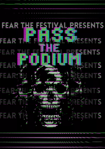 """This image is presented as a glitched skeleton against a background that reads """"fear the festival presents"""""""