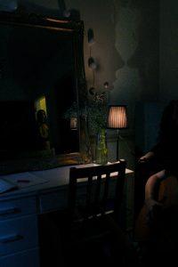 A dark kitchen.