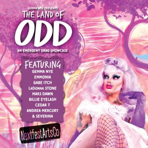 Gemma Nye The drag Queen poses in a pink wonderland on a promotional flyer.