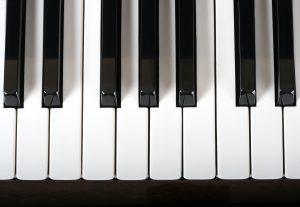 A close-up of piano keys.