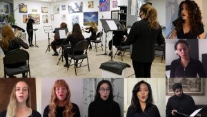 A collage of headshots surround a larger picture of people rehearsing vocals in a choir.